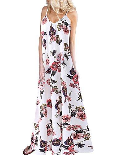 Kidsform Robe de Plage d'été à Fleurs à Bretelle Casual Robe Longue Imprimée sans Manche Col V Fourchu Chic Z-Blanc XX-Large/FR44l