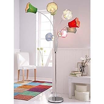 stehleuchte mit 7 bunten lampenschirmen beleuchtung. Black Bedroom Furniture Sets. Home Design Ideas