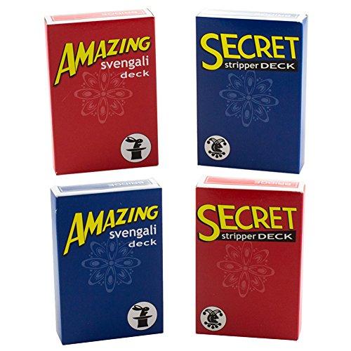 Kid Magic Tricks, Kit Amazing (Amazing Magic Entscheidungsträger Svengali und Secret Stripper Deck-Kit für hunderte von möglichen Tricks von Anfänger bis Profi In diesem Set (rot und blau Svengali Decks und Decks Stripper Rot und Blau))
