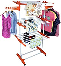 Saimani Made in India Life Time Warranty Modern 3 Tier Double Poll Pure Mild Steel Cloth Dryer Stand