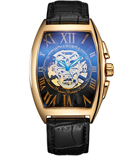 Sewor Luxury Mens Skull Head Automatic Mechanical Wrist Watch Leather Band Glass Coating Blue (Gold Black)