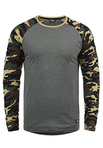 !Solid Cajus Herren Longsleeve Langarmshirt Shirt Mit Camouflage-Muster Und Rundhals-Ausschnitt Aus 100{182e082fe13f94df8d11775d889fbc6b13175f012db2bd8adc915e4b61c014f4} Baumwolle, Größe:XL, Farbe:Grey Melange (8236)