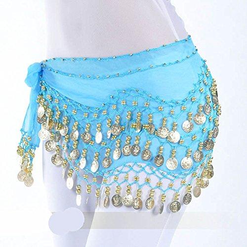 128pièces d'or Belly Dance Hip Écharpe Vogue Style, Idée Cadeau Style 6