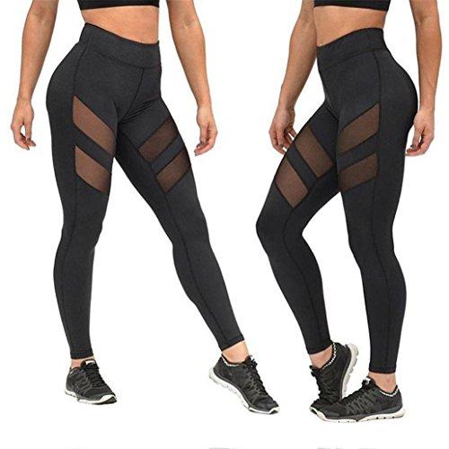 Yoga Hosen, Sonnena Frauen hohe Taille sexy Skinny Leggings Patchwork Mesh Push up Yoga Pants Patchwork Mesh Damen Pilates (S, Schwarz)