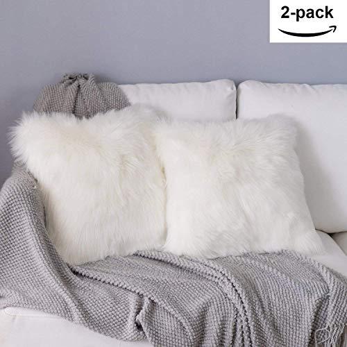 YDFYX Housse de Coussin,Peau de Mouton Fourrure Cuir Taie d'oreiller,Fausse Fourrure Deluxe Décoratif Canapé Chambre Lit Super Doux Peluche Mongolie Taie d'oreiller (2Pcs Blanc, 45X45 cm)