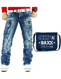 Cipo & Baxx Herren Jeans Teilungsnähte Streetwear Regular Hose Freizeit Clubwear