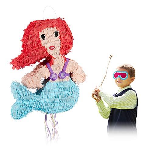 Relaxdays Pinata Meerjungfrau, zum Aufhängen, für Kinder, Mädchen, Geburtstag, zum Befüllen, aus Papier, Zugpinata, bunt