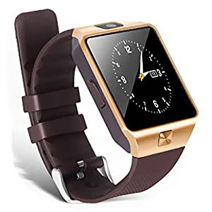 HP Slate 6 Voice Tab Compatible Bluetooth Smartwatch (Golden) With Camera & Sim Card Support & Supporting Apps Like Twitter, Whats App, Facebook, Touch Screen Multilanguage Android/IOS Mobile Phone Wrist Watch Phone with activity trackers and fitness band features by Mobilefit