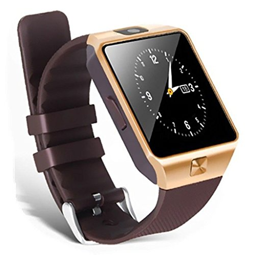 Xolo Q700s Plus Compatible Bluetooth Smartwatch (GOLDEN) With Camera & Sim Card Support & Supporting Apps Like Twitter, Whats App, Facebook, Touch Screen Multilanguage Android/IOS Mobile Phone Wrist Watch Phone with activity trackers and fitness band features by Mobile Link  available at amazon for Rs.1699