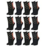 Lavazio 12 | 24 | 36 | 48 Paar Topmodische Socken für Damen &Teenager verschiedene Farb-Kombis, Größe:39-42, Farbe:mehrfarbig - 12 Paar - Nr. 1024