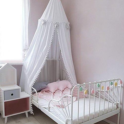 Pueri Baby Betthimmel Baldachin Moskitonetz Spiel Kinder Prinzessin Spielzelte Dekoration fürs Kinderzimmer (A, Weiß)