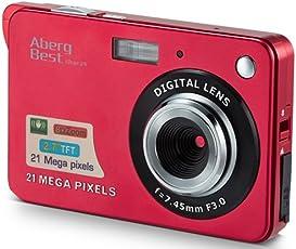 """AbergBest 21 Megapixel 2,7"""" LCD Wiederaufladbare HD Digitalkamera Digitale Videokamera Studentenkamera Indoor Outdoor für Erwachsene/Senioren / Kinder (Rot)"""