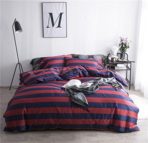 Bettwäsche Bettlaken Bettbezug Bettdecke Set 4 Stücke 100% Ägyptische Langstapel-Baumwollgewebe Zeitgenössische Geometrischer Streifen Gitter Weich Und Bequem, Voller Königin Bett Größe,A,Full