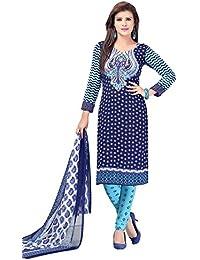 A K Designer Women's Chiffon Dress Material (Mehak10004_Free Size_Blue)