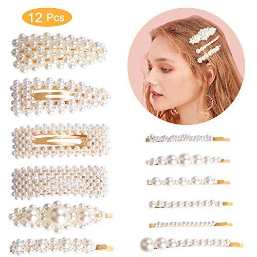 Perle Haarspange Damen,Winpok 12Pcs Perle Haarspange Haarnadeln Haar Klammer Haarklammern Haar Haarspangen Zubehör für Hochzeit Valentinstag Geschenke (12 pcs)