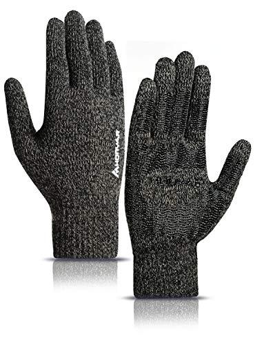 HONYAR Handschuhe Herren Winter, Handschuhe Damen Touchscreen Handy mit Winter Warme Gefüttert - Elastische Manschette - Laufhandschuhe Autofahren Arbeitshandschuhe - Schwarz & Khaki (M)