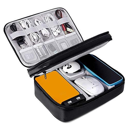 Elektronische Tasche Feuerfest Doppelte Schichte Kabel Organizer Tasche wasserdicht Elektronik zubehör organisator kompatibel mit Kabel,Ladegeräte,Stecker,Speicherkarten,iPad,Tablet Gadget Tasche