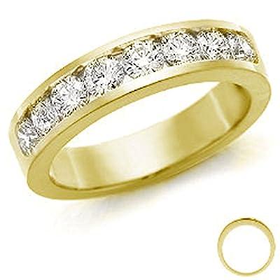 1/2 Carat Round Diamond Channel Set Half Eternity Ring 18k Yellow Gold