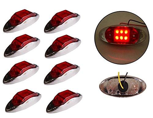 8x 12/24V 6LED Seite hinten vorne chrom Marker rot Licht LKW Truck Trailer Bus -