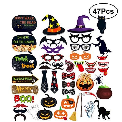 BESTOYARD 47pcs Halloween Photo Booth Props mit Kürbis Laterne Vampir Fangs Lippen Spinne Bat Party Sonnenbrille Bowtie Hexe Hut