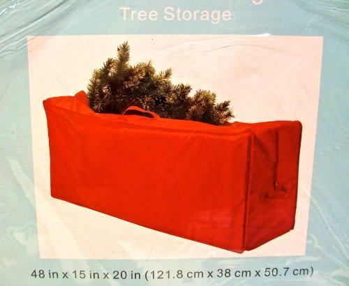 Storage Tree Bag (Seasonal Tree Storage Bag,handle,zipper Closure,red Polyester,48