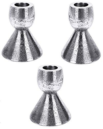 Marzoon Metall Kerzenständer/Stabkerzenhalter in Matt Silber/Antiklook/Hammerschlag, Höhe 8,5 cm,...