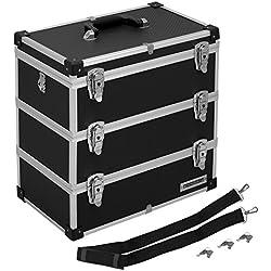 Werkzeugkoffer Angelkoffer Präsentationskoffer 3 Ebenen Alu 32L - Schwarz