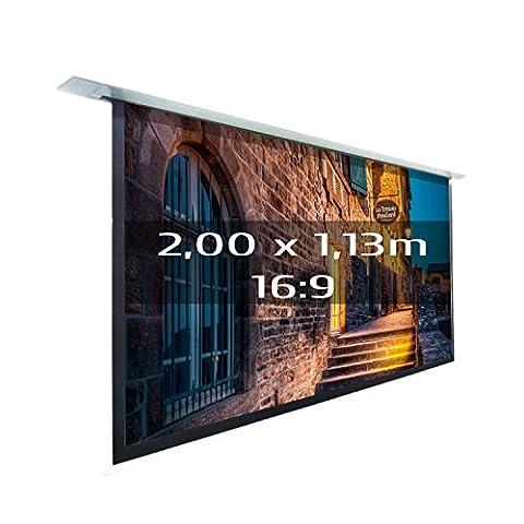 KIMEX 048-1512 Ecran de projection électrique encastrable Premium 2,00 x 1,13m format 16:9