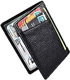 Portafoglio in pelle Uomo Piccolo Sottile RFID Porta Carte Credito Minimalista Viaggio Wallet Carte di Credito e Tasche Pelle, RFID/NFC Blocco Portafoglo- Nero