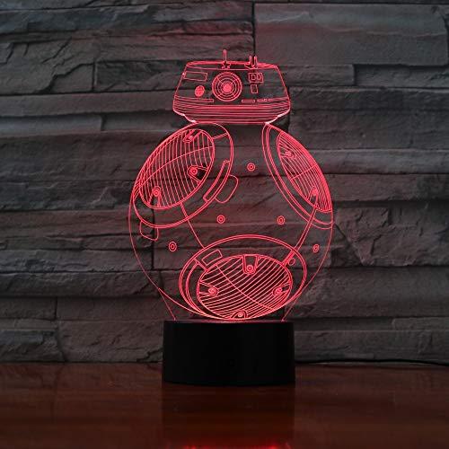 Lixiaoyuzz 3D Nachtlampe Neue Bb8 Roboter Led Licht Schreibtisch Tisch Halloween Dekoration Geschenk Kind Abschlussfeier Usb 7 Farben Ändern Lava Lampe