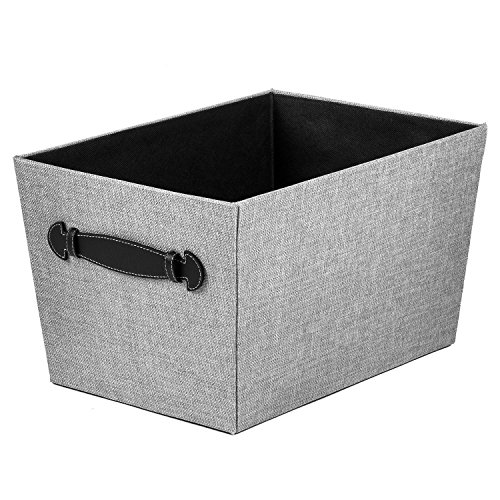 8-zoll-storage-box 8 Von (Creative Scents Fabric Storage Bin, Gray Birch, Closet Organizer Box Basket Shelf with Faux Leather Handles for Portability -Sturdy Cardboard -Stylish Gift-Box, Room & Office Décor, 8