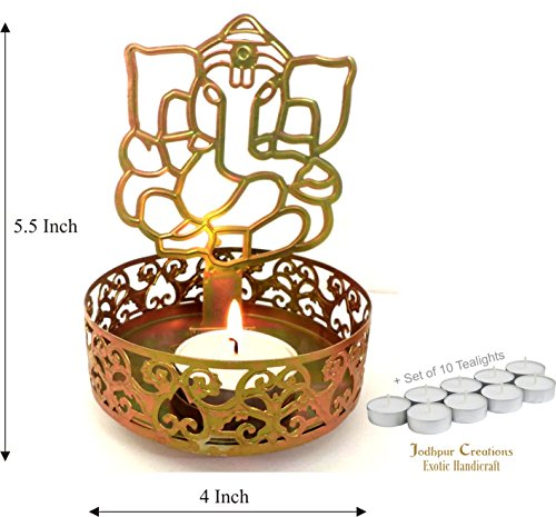 Set of 10 Parafin wax Smokeless Tealight Candles with Auspicious Ganeshji Tealight Holder - ideal Diwali Gift by Jodhpur Creations - Exotic Handicrafts