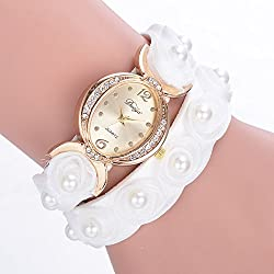 Rrimin Female Chic Inlaid Diamond Alloy Rose Pearl Bracelet Watch (White)