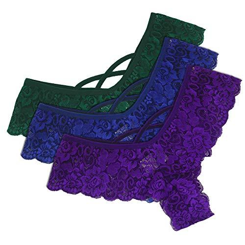 Heligen Damen Sexy Dessous Set Erotik Spitze Blumen Niedrige Taille Unterwäsche Höschen G-String Thongs Frauen 3 STÜCK 6 STÜCK String Dessous Tangas