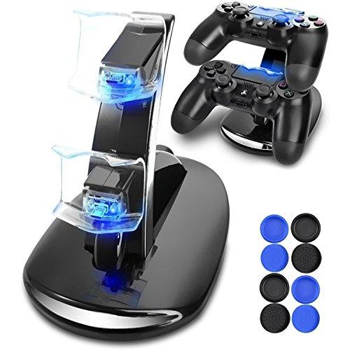 Cargador Mando PS4 Solotree Cargador Doble Cargador simultáneo del USB Soporte con el Indicador del LED para PS4/PS4 Pro/PS4 Slim Controller (precio: 12,59€)
