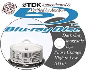 TDK 25GB 6X BD-R BLU RAY RECORDABLE DISC DISK Inkjet Printable 25 Packs Spindle - DARK GREY METALLIC INORGANIC DYE - QUALITY DISC MADE IN TAIWAN - (EAN 0020356617035)