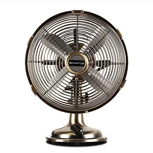 ZZHFS BBGS Ventilatore Elettrico, Ventilatore Elettrico in Metallo Vintage - Ventilatori da Tavolo silenziosi da scrivania con scuotere la Testa/Risparmio energetico/Riduzione Rumore/Ventola