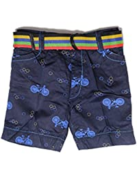Krystle Boy's Navy Blue Printed Cotton Shorts for Kids