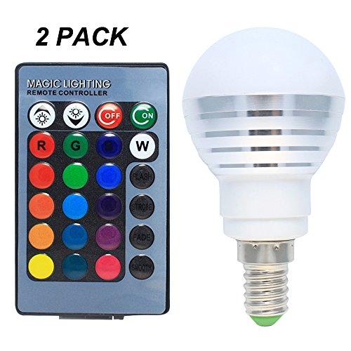 2er Pack LED Lampen 3W Dimmbar E14 RGB mit Farbwechsel, 120° Abstrahlwinkel, 16 Farbe zur Auswahl, inklusive Fernbedienung