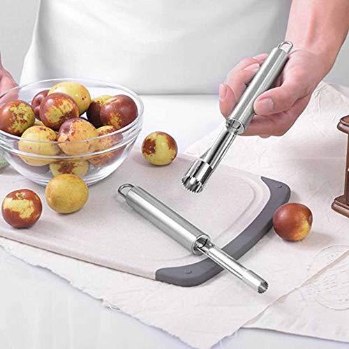 Neuheit Super Cherry Pitter Stein Corer Remover Maschine Portable Kirsche Corer mit Container Küche Gadgets Werkzeug - Silber