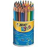 BIC Kids Evolution Triangle ECOlutions Crayons de Couleurs Triangulaires - Couleurs Assorties, Pot à Crayons de 48