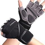 Grebarley Fitness Gloves Sollevamento Pesi, Protezione Totale del Palmo, Guanti da Allenamento Traspiranti per Uomo e Donna(Nero, S)