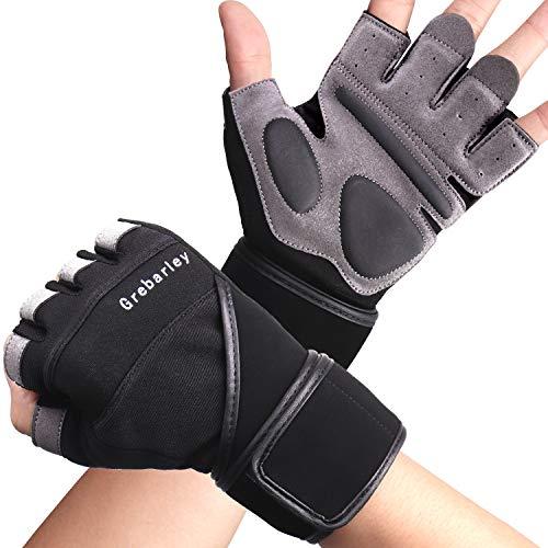 Grebarley Fitness Handschuhe,Trainingshandschuhe,Gewichthebehandschuhe für Krafttraining,Bodybuilding,Sporthandschuhe für Damen und Herren(Schwarz, S)