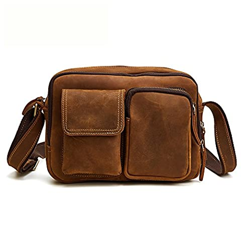 Vintage Leather Laptop Bag Messenger Hand Made Briefcase Crossbody Shoulder Bag (Brown Color) (Brown Leather Messenger Bag)