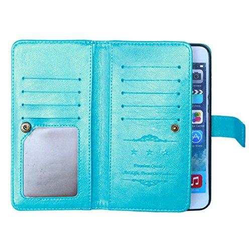 iPhone Case Cover Normallack-Qualitäts-PU-lederner Kasten-Abdeckungs-Standplatz-Mappen-Kasten für iPhone 6S PLUS ( Color : Red , Size : 6S Plus ) Blue