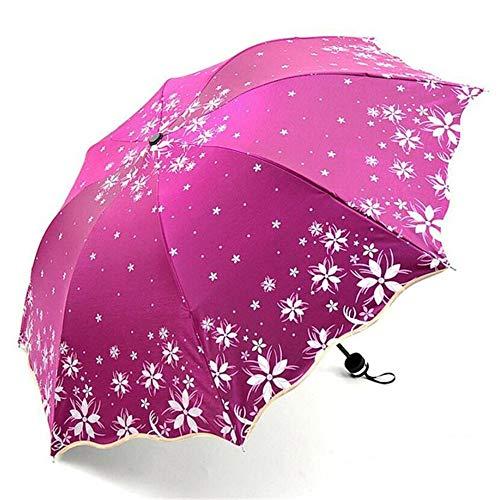 Schöner Glanz reflektierende Frauen Regenschirm Blume Blossom Princess Girl Floral Umbrellas UV-Sonnenschirm Falten Paraguas Geschenk Sternenrot 28CM
