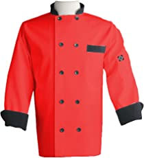 Aurum Creations Men's Double Breasted Red Chef Coat Black Contrast : Size 42