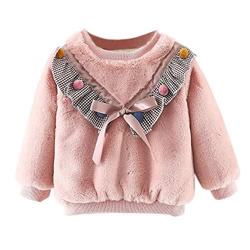 Selou Mädchen Pullover Rosa lange Ärmel Plüsch Pullover Prinzessin Kostüm Bogenspitze Lässiges lockeres Sweatshirt Kurzer Pullover Dickes süßes T-Shirt Plaid gepolsterte Kleidung