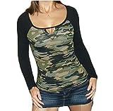 ZJCTUO Damen Langarmshirt Camouflage V-Ausschnitte Drucken T-Shirt Tops Oberteil (36/S, Armeegrün)