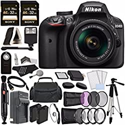 Nikon D3400 DSLR Camera with 18-55mm AF-P DX Lens (Black) + Battery + Charger + 32GB + Remote + Card Reader + Tripod + HDMI + Case + Flash + Cleaning Pen Bundle